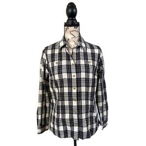 DELUTH  CO BLACK AND WHITE PLAID SHIRT XS